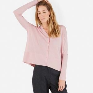 Everlane Wool Pink Square Cardigan Button Up